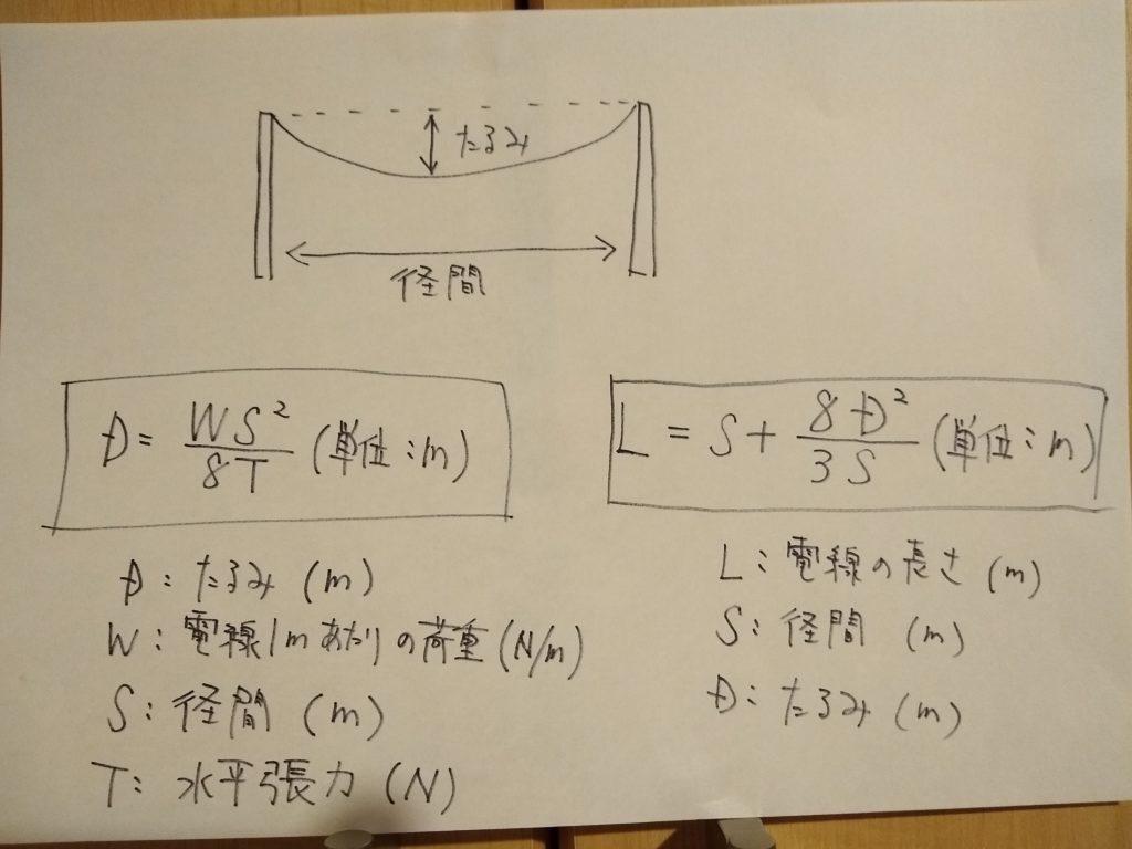 電線のたるみ計算