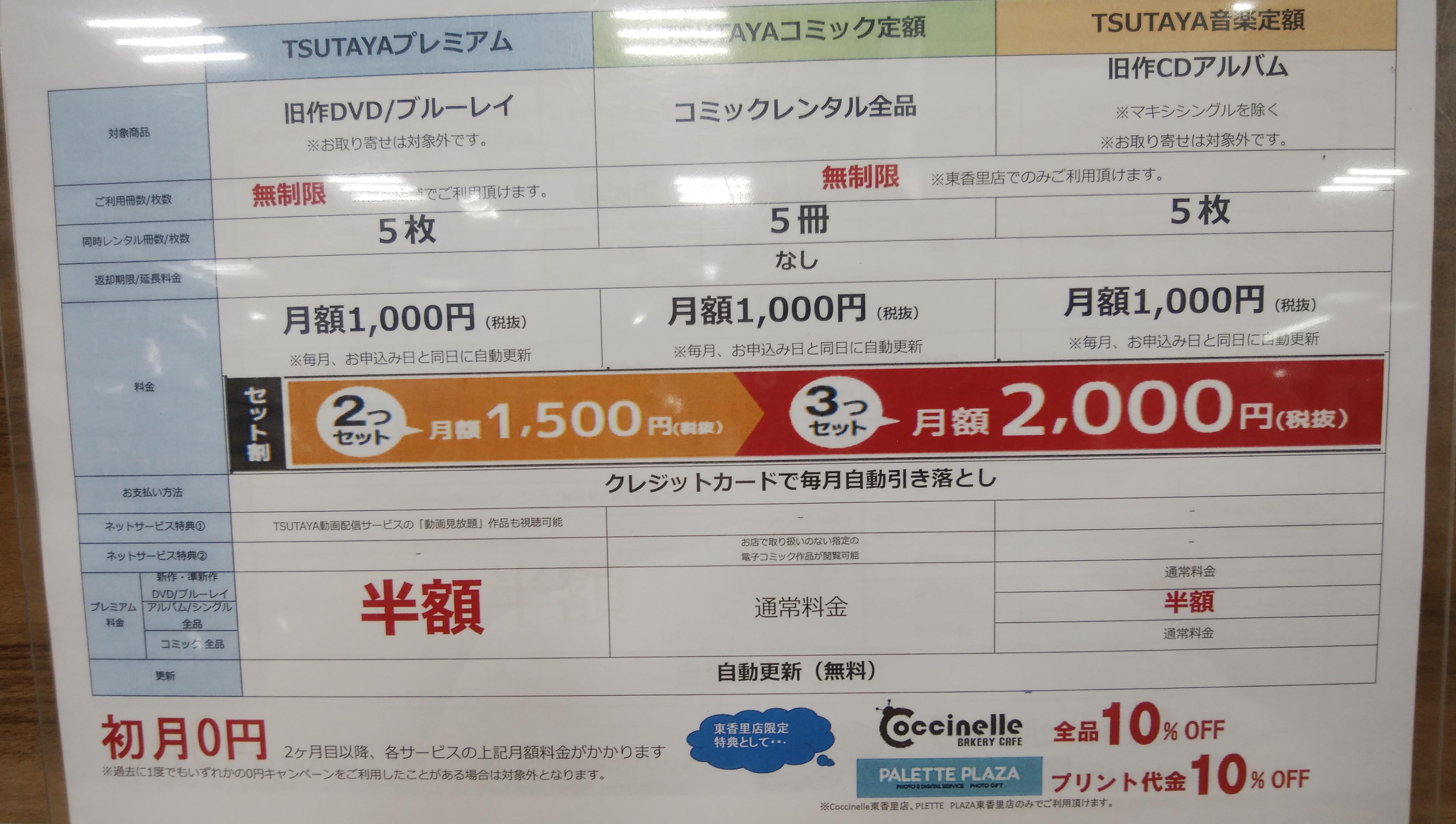 CD、コミック、DVDが無料!「TSUTAYA定額プランの無料期間を見逃すな!」