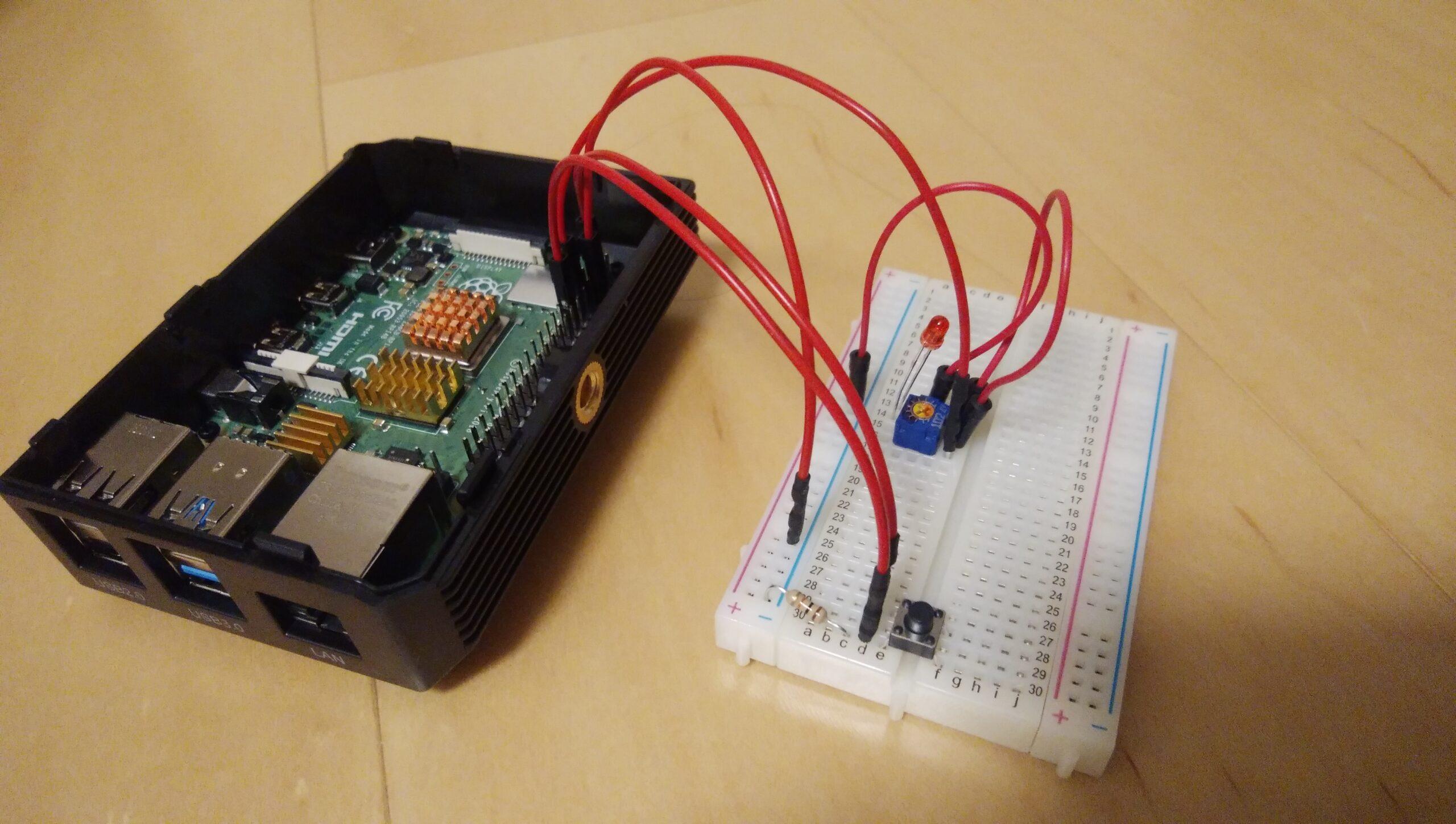 Raspberry Pi 4Bでエルチカ「タクトスイッチで点灯させてみる」【GPIO IN、OUT】と【プルダウン、プルアップ】について